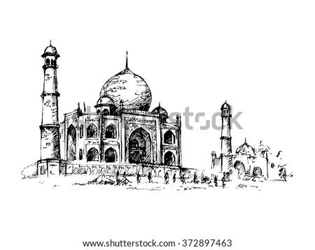 Taj Mahal, India. Vector hand drawn illustration. - stock vector