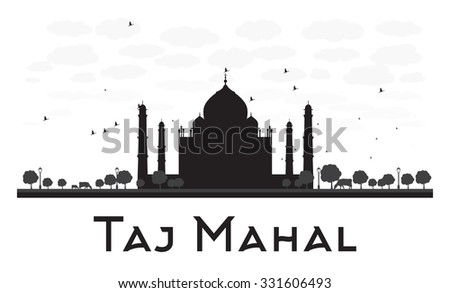 Taj Mahal skyline black and white silhouette. Vector illustration. Simple flat concept for tourism presentation, banner, placard or web site. Business travel concept. Cityscape with famous landmark - stock vector