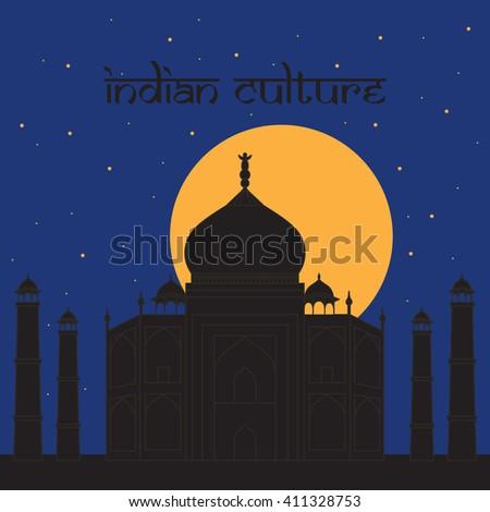 Taj Mahal Temple Landmark in Agra, India. Indian white marble mausoleum, indian architecture - stock vector