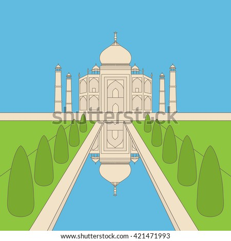 Taj Mahal Temple Landmark in Agra, India. Indian white marble mausoleum, indian architecture outline vector - stock vector
