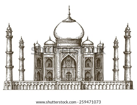 Taj Mahal vector logo design template. India or travel icon. - stock vector
