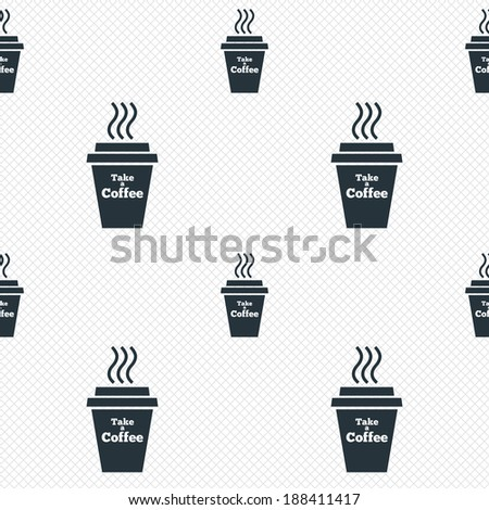 Take a Coffee sign icon. Hot Coffee cup. Seamless grid lines texture. Cells repeating pattern. White texture background. Vector - stock vector