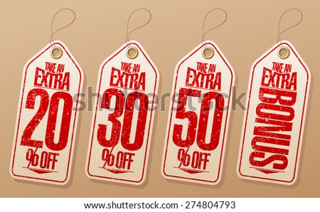 Take an extra bonus coupons in the form of tags - stock vector