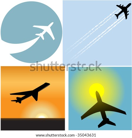 Take off with this set of four Airline Travel passenger plane airport icons and symbols. - stock vector