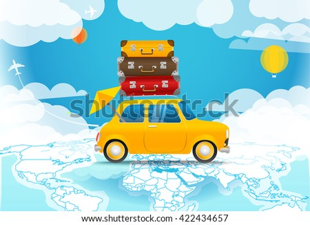 Take Vacation. Car travelling concept. Flat design vector illustration - stock vector