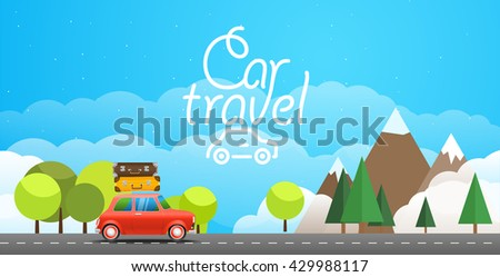 Take Vacation travelling concept with a red car. Flat design illustration. Car travel concept - stock vector