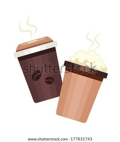 Takeaway coffee and frappuccino in thermo cup Isolated on white background Vector illustration  - stock vector