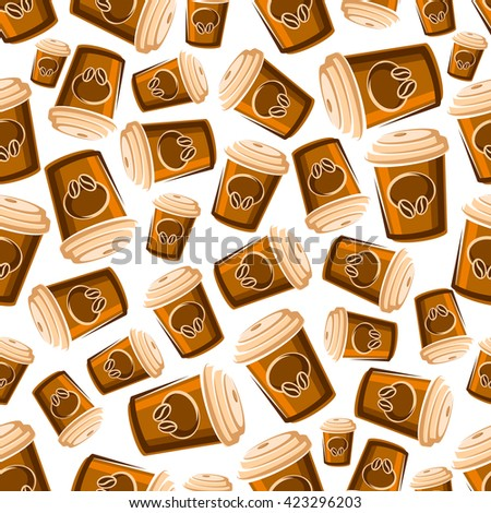 Takeaway coffee cups seamless pattern of cartoon brown paper cups with lids, decorated by coffee beans on white background. May be use as fast food or coffee shop design - stock vector