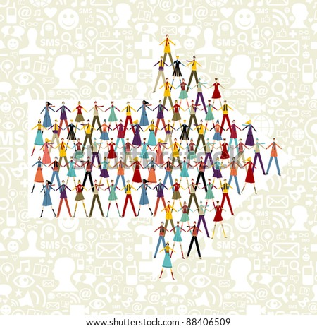 Taked by hands people group in an arrow shape symbol. Social icons set pattern background. - stock vector