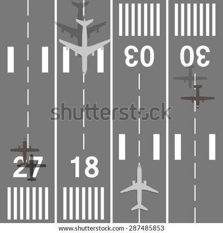 Takeoff and landing airplanes set. Runway with jet aircraft top view. Airport elements. Instrument landing system scheme. Airport label, sign and mark. - stock vector