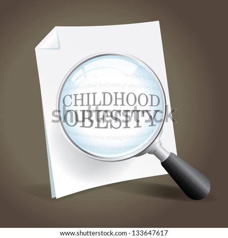 Taking a closer look at the childhood obesity epidemic - stock vector