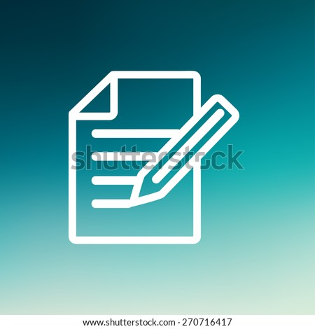 Taking note icon thin line for web and mobile, modern minimalistic flat design. Vector white icon on gradient mesh background. - stock vector