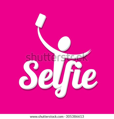 Taking Selfie Photo on Smart Phone concept icon set. vector abstract illustration - stock vector