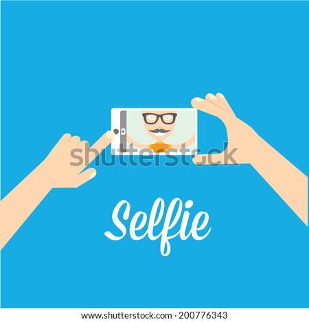 Taking Selfie Photo on Smart Phone concept on blue background. vector illustration - stock vector