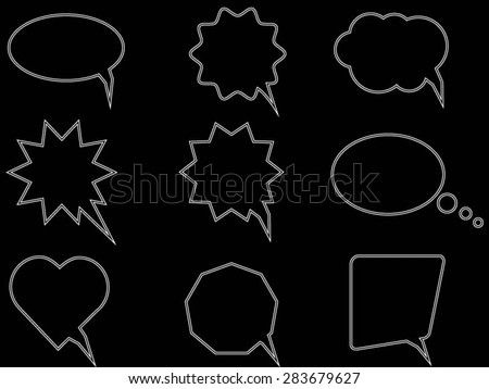 Talk and think comics bubbles silhouettes set for communication - stock vector