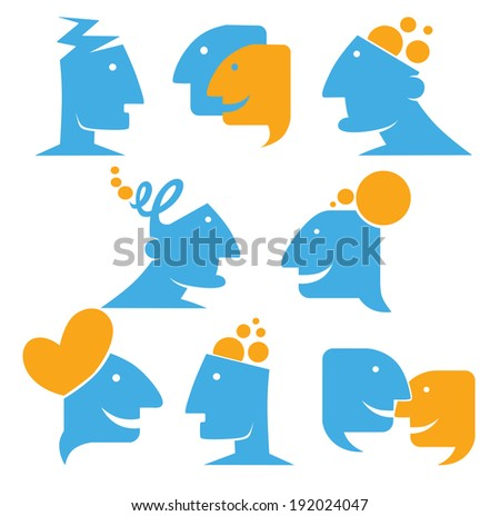 talking and thinking, vector communication collection - stock vector