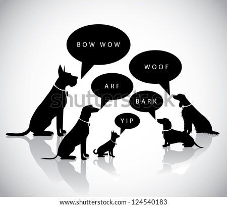 Talking Barking Dog Silhouettes - stock vector