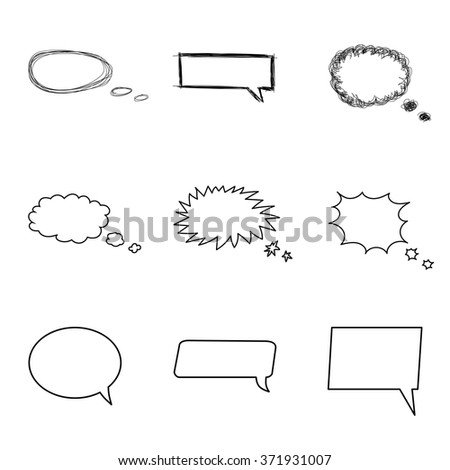 Talking bubble set. Comic style speech bubbles collection. Funny design vector items illustration. Talk and Think. - stock vector