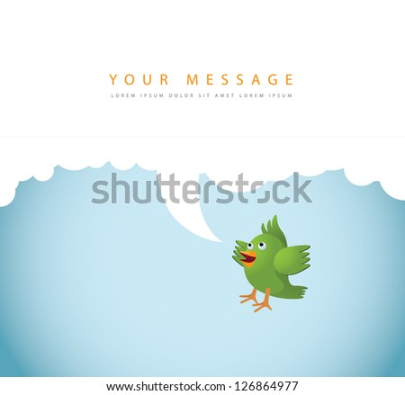 Talking Cartoon Bird Icon Symbol Talking with Speech Bubble for Your Message. EPS 8 vector, no open shapes or paths. Grouped for easy editing. - stock vector