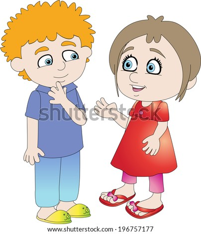 Two Kids Talking Stock Vectors & Vector Clip Art ...