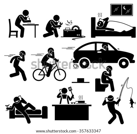 Talking on Cellphone Phone While Doing Something Stick Figure Pictogram Icons - stock vector
