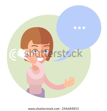 Talking on the phone woman. In the flat style. Speech bubble - stock vector