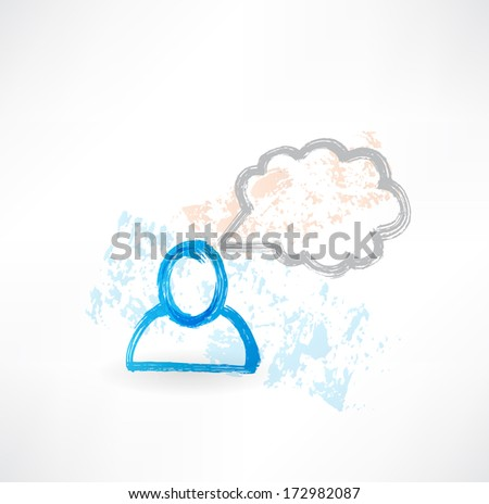 Talking person grunge icon - stock vector