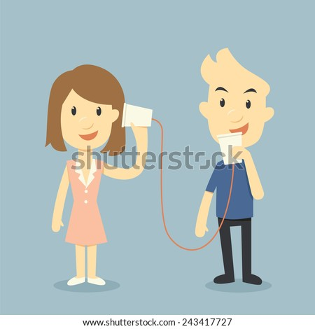 talking with cup telephone, valentine day concept - stock vector