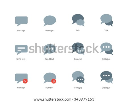 Talks and dialog bubble vector icons set. Icons for social networks, speech bubbles, dialogue, text, messages. Flat color icons set. Isolated on white background - stock vector