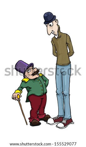 tall and short man, cartoon characters, vector illustration - stock vector