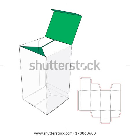 Tall Box with Flip-Lock Bottom and Die-cut Pattern Layout - stock vector
