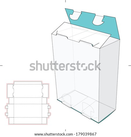 Tall Box with with Claws Like  Auto-lock and Die-cut Pattern - stock vector