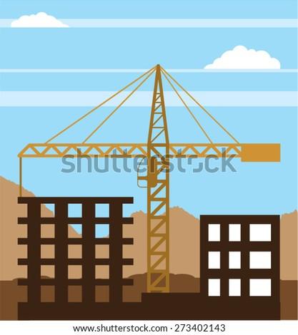 Tall building Crane sky - stock vector