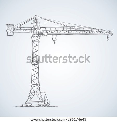 Tall heavy iron frame crane isolated on white. Vector grunge freehand linear ink drawn sketchy backdrop in art scribble style pen on paper. Side view with space for text on sky - stock vector