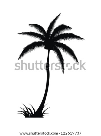 Tall Palm Tree Silhouette Vector with Grass - stock vector