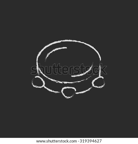 Tambourine hand drawn in chalk on a blackboard vector white icon isolated on a black background. - stock vector