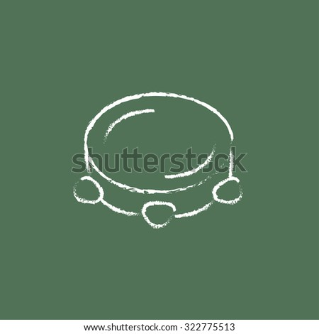 Tambourine hand drawn in chalk on a blackboard vector white icon isolated on a green background. - stock vector