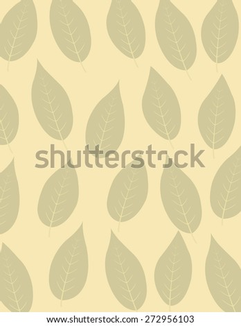 Tan leaf repeating pattern over tan background - stock vector