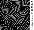 Tangled black seamless pattern. - stock vector