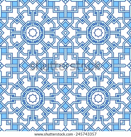 Tangled modern pattern, based on traditional oriental patterns. Seamless vector background. Plain colors - easy to recolor. - stock vector