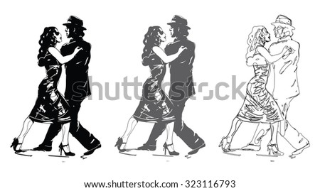 Tango Dancers In Black and White - stock vector