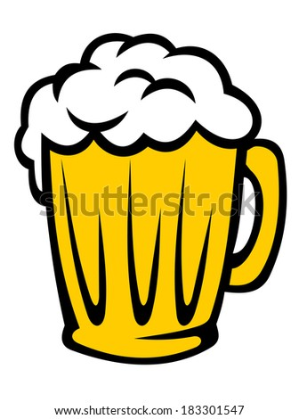 Tankard full of golden frothy beer with a good head of froth, cartoon illustration isolated on white - stock vector