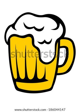 Tankard of golden beer with a frothy head overflowing down the glass isolated on white - stock vector