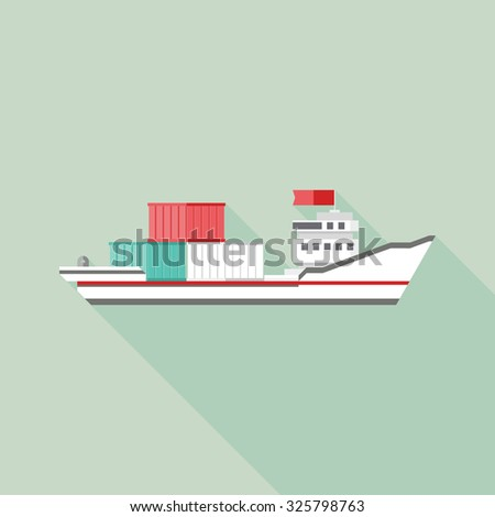 Tanker cargo ship icon with containers. Flat design with Long Shadow. Vector illustration - stock vector