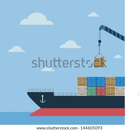 tanker cargo ship with containers - stock vector