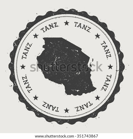 Tanz.. Hipster round rubber stamp with United Republic of Tanzania map. Vintage passport stamp with circular text and stars, vector illustration - stock vector