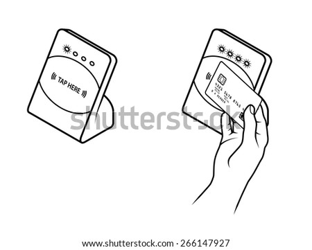 Tap and Pay Payment. Diagram shows typical payment process using a sensor. - stock vector