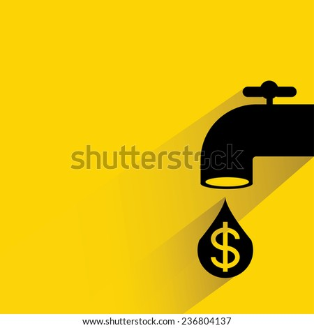 tap, valve with money drop, oil energy concept - stock vector