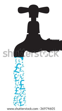 tap with pound signs dripping out - stock vector