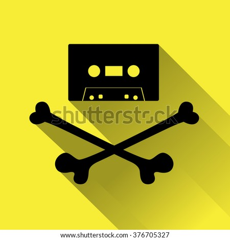 Tape cassette with crossbones. Copyright piracy concept. Flat style icon for web. On yellow background. - stock vector